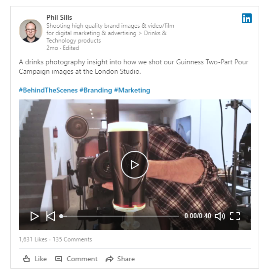 Phil Sills Photographer Guinness videos on LinkedIn
